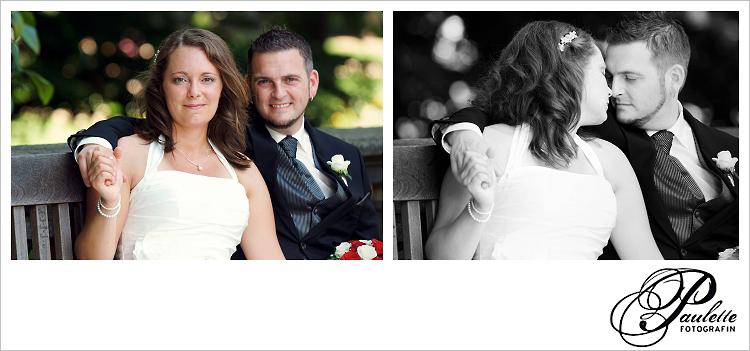Glückliches Brautpaar geniesst den Tag der Hochzeit auf einer Bank im Schlossgarten Fulda.