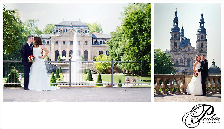 Brautpaar lässt sich am Hochzeitstag vor der Orangerie in Fulda und dem Fuldaer Dom fotografieren.