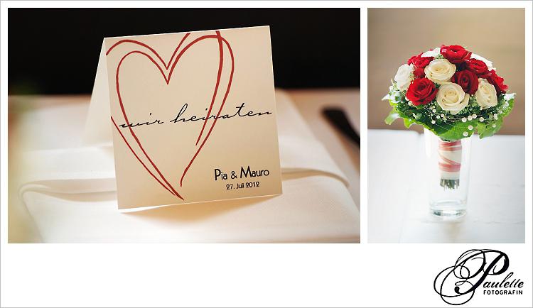 Romantische Platzkarten mit und Brautstrauss mit roten und weissen rosen im Sippelshof in Fulda - Sickels.