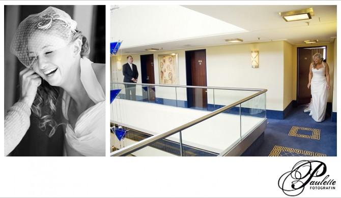 Braut beim Getting ready und Hochzeitspaat beim First look an Ihrem Hochzeitstag im Maritim Hotel Fulda.