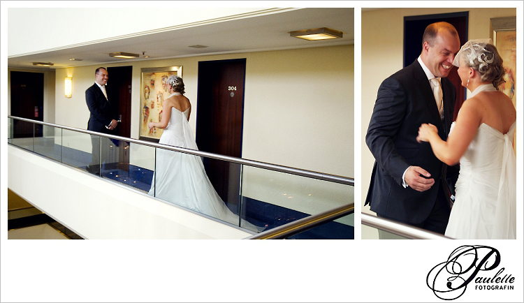 First Look, Braut und Bräutigam sehen sich zum ersten Mal an Ihrem Hochzeitstag im Maritim Fulda.