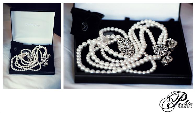 Antiker Brautschmuck, Perlenkette mit Silberverschluss, die die Braut zu Ihrer Hochzeit in Fulda trägt.