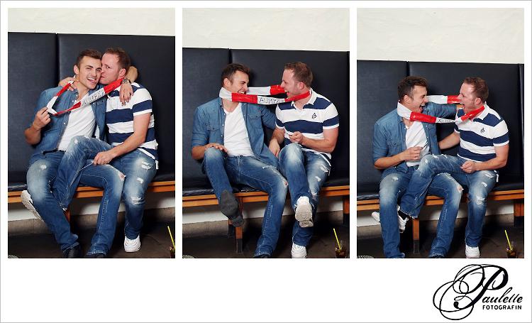 Die Jungs haben Spass und spielen das Traumpärchen im Photobooth zur 30. Geburtstagsfeier Party im Museumskeller Fulda.
