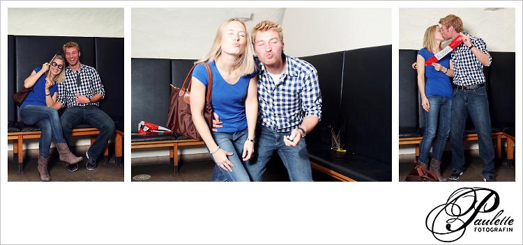 Blondes Traumpärchen knutscht in die Kamera im Photobooth zur 30. Geburtstagsfeier Party im Museumskeller Fulda.
