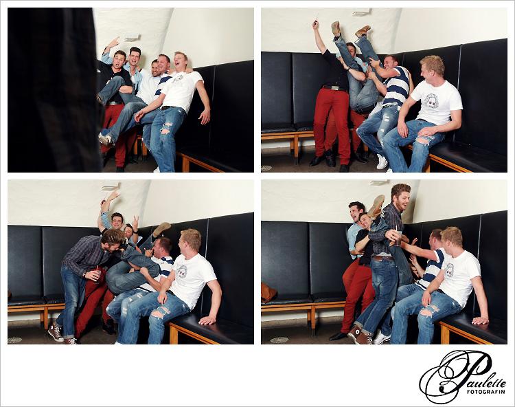 Die Jungs haben Spass zu später Stunde im Photobooth zur 30. Geburtstagsfeier Party im Museumskeller Fulda.