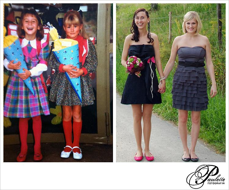 Erste beste Freundin, 1990 bei der Einschulung mit Schultüten und 2012 bei der HOchzeit als Trauzeugin und Braut.