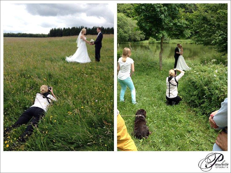 Hinter den Kulissen beim Brautpaarshooting in Fulda mit Entourage und Hund.