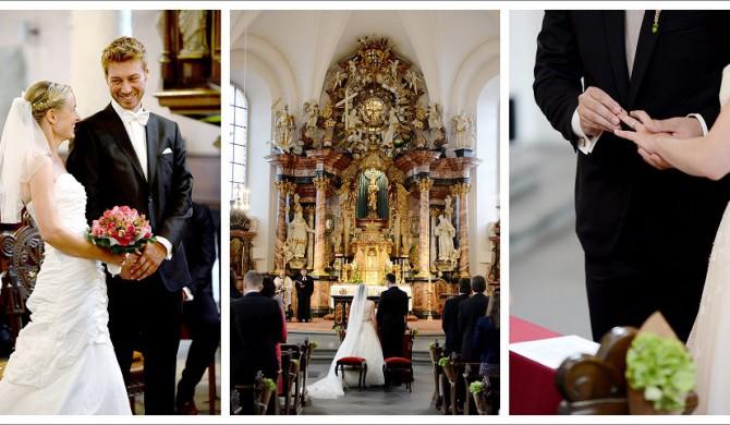 Kirliche Hochzeitsttrauung in Fulda am Frauenberg von der Hochzeitsfotografin Paulette Fotografin.